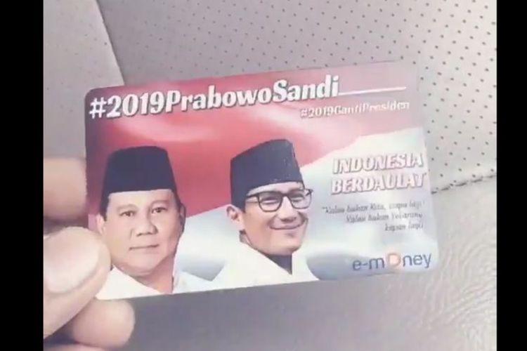 Bank Mandiri: E-Money Bergambar Prabowo-Sandi Ilegal