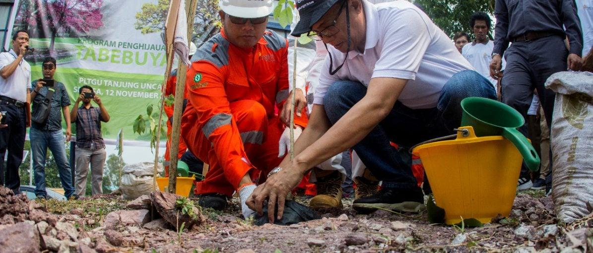 Bright PLN Batam Tanam Pohon Tabebuya di Tanjunguncang