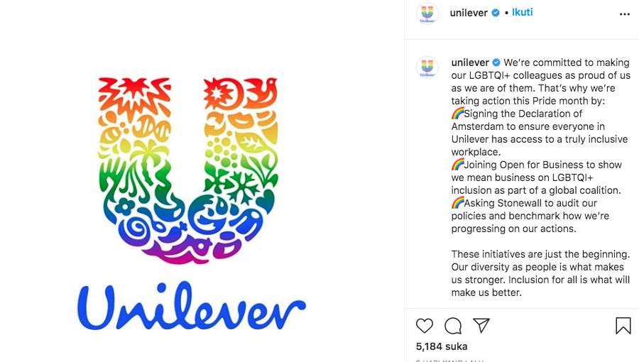 Unilever Nyatakan Dukungan pada LGBT di IG, Warganet Minta Boikot Produk
