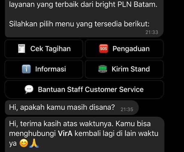 Tak Perlu Telepon, Layanan Pengaduan Bright PLN Batam Bisa Lewat Virtual Agent